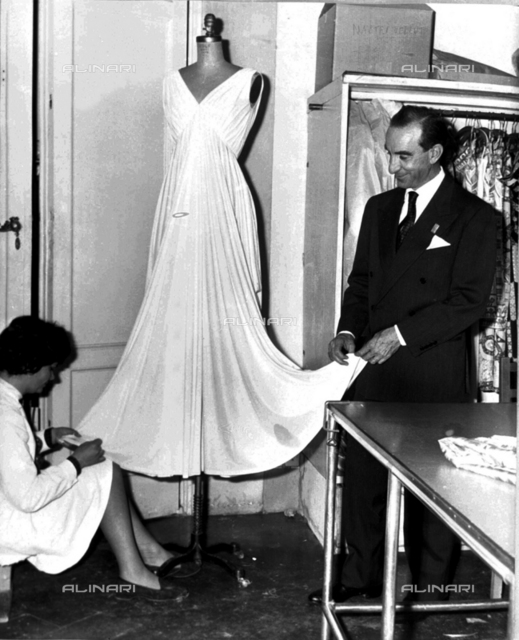Emilio Pucci in his fashion shop before attempting to make a name in politics, Florence