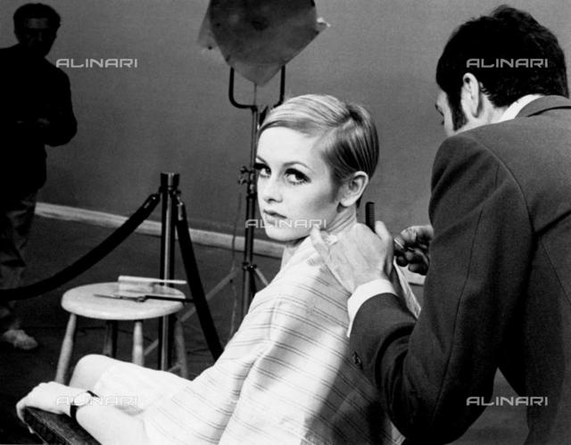 Twiggy (Leslie Hornby) working in New York on a fashion tour flew over hairdresser, Leonard, from London at a cost of £254.11s. The hairdo cost 3 guineas.13th April 1967 , Personalities, Twiggy