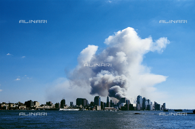 Terrorist attack, September 11, on the Twin Towers of the World Trade Center, New York; Photo taken from New Jersey