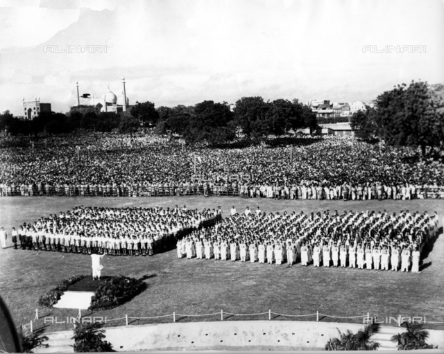 Indian Independence celebrations in Delhi. Mr Pandit Nehru the Prime Minister of India addresses over one million people at a gathering to mark India's independence day