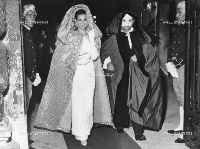 Princess Grace and Prince Rainier of Monaco, grand masquerade ball, Ca' Rezzonico, Venice, 1966
