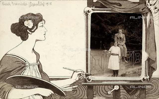 Count Grazzader and a young woman in a garden in Pracchia. To the side of the photo, which is framed in a drawn easel, is a drawing of a female figure in the act of painting