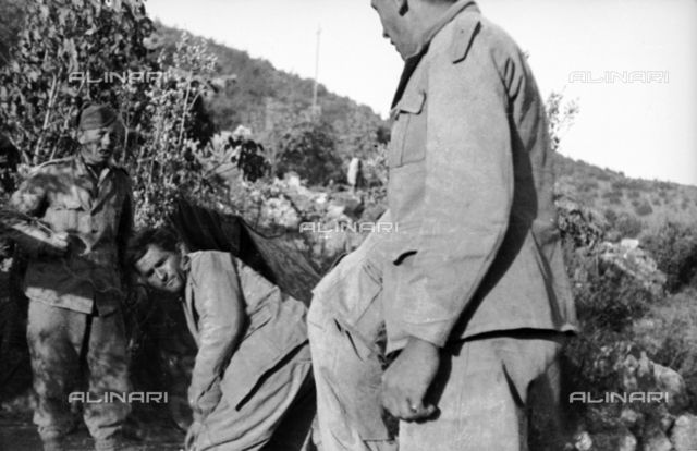 Spanish Civil War 1936-1939: Some Italian soldiers in a small tent