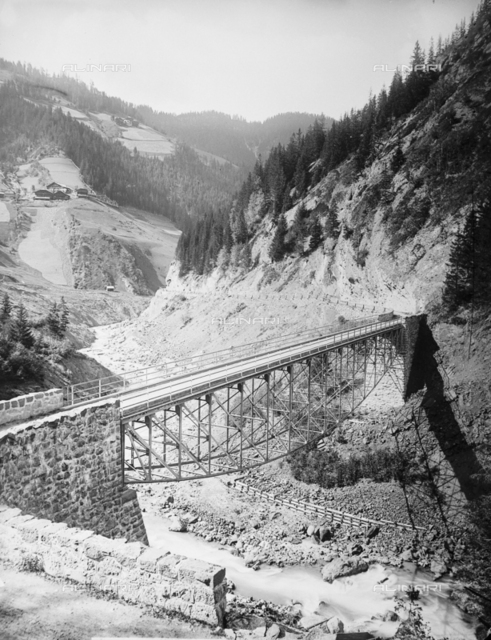 Iron bridge over the river in South Tyrol