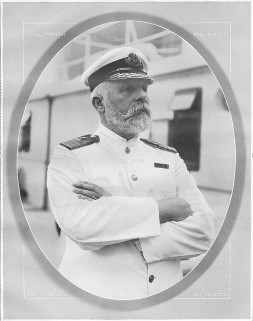 Captain of the Titanic. Captain of White Star Liner, RMS Titanic. Portrait of Commander Edward J. Smith, who died when Titanic sank on April 15th, 1912 after striking an iceberg off the coast of New Foundland during her maiden voyage from Southampton, England to New York, USA, with the loss of 1,522 passengers and crew. The steamship was built by Harland & Wolff in Belfast Ireland during 1910 - 1911. (Photo by Titanic Images/Universal Images Group)