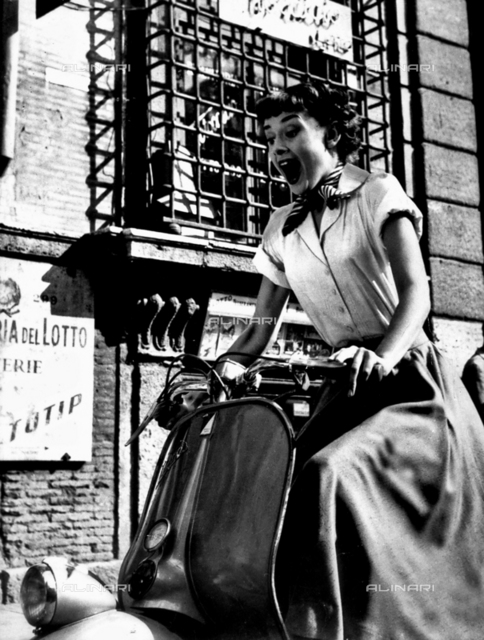 "The actres Audrey Hepburn (1929-1993) in the movie ""A Roman Holiday"" directed by William Wyler, Italy 1953"