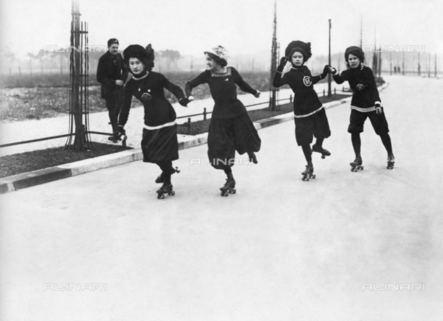 Sport and leisure: group of girls on roller skates