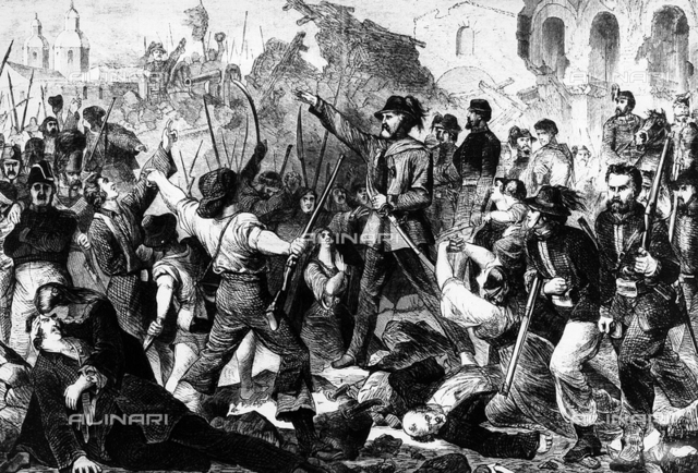 Expedition of the Thousand: Giuseppe Garibaldi entering in Palermo, engraving