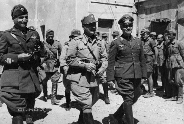 Deputy Marshal Erwin Rommel with General Ettore Bastico at the Marmarica Front in Libya during the North African campaign
