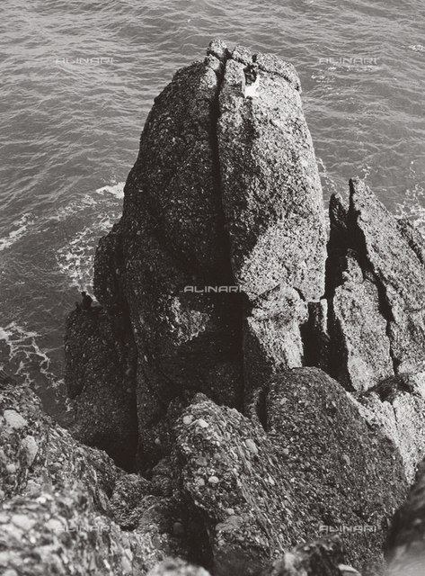 Craggy rocks in the sea at Portofino