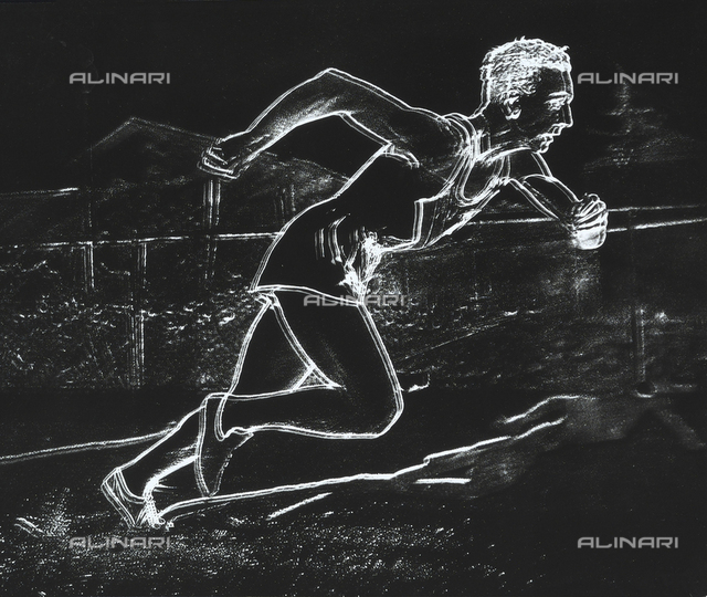 Drawing of an athlete during a race. White lines on a dark background.