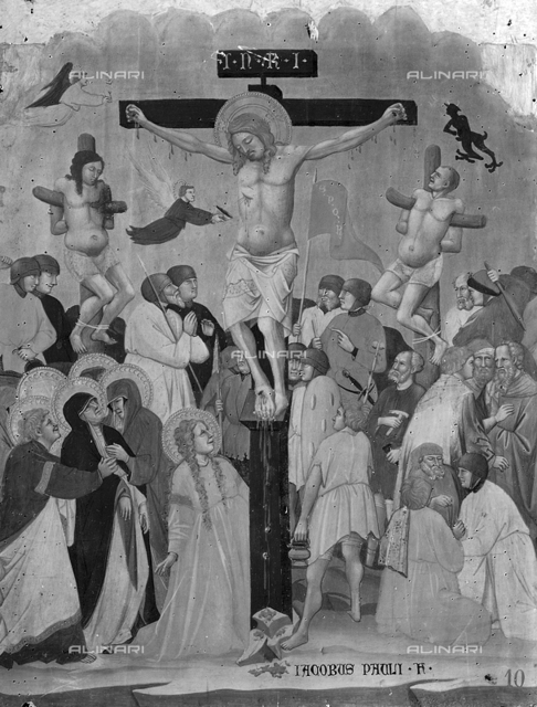 Crucifixion of Jesus Christ, tempera over table, Jacopo di Paolo, National Picture Gallery, Bologna