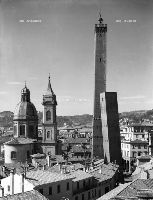 Panoramic view of Bologna: the Towers, the Dome and the Bell Tower of St Bartolomeo