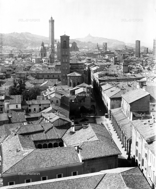 Scenic view with the two Towers, the Bell tower of St Giacomo and the Council Theatre, Bologna