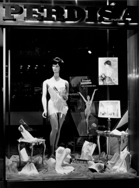 Women's lingerie displayed in a shop window
