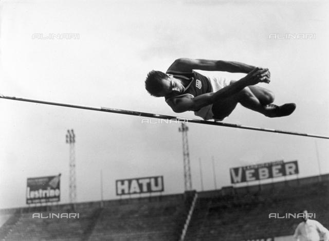 Athlete during a high jump