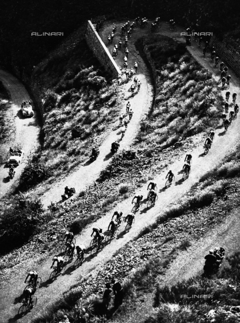 Aerial view of a group of cyclists of the Tour of Italy, Bologna