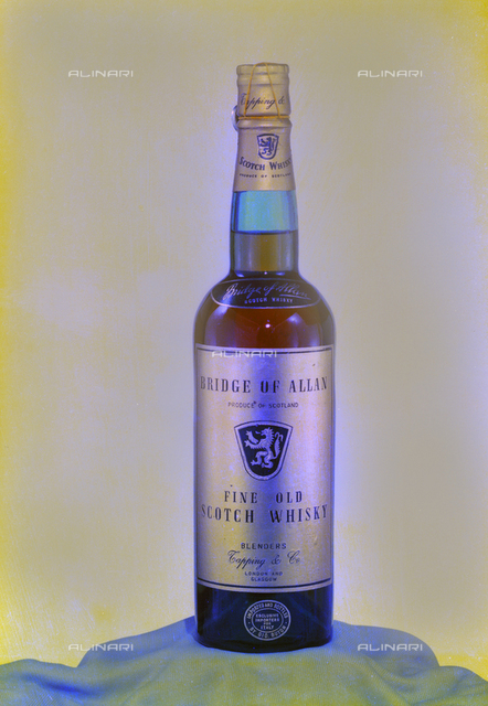 Bottle of Scotch Whisky Bridge of Allan, imported and bottled by Buton