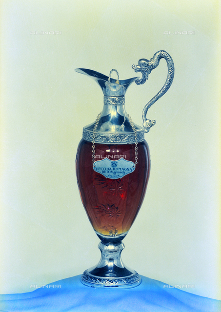 Glass Pitcher and silver reserves Vecchia Romagna Brandy Buton