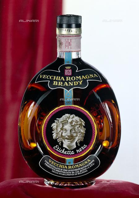 Bottle of brandy Vecchia Romagna reserves Buton