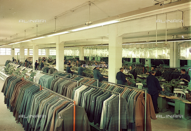 Production of wool fabrics and tailoring of clothes in the textile industry Marzotto in Valdagno