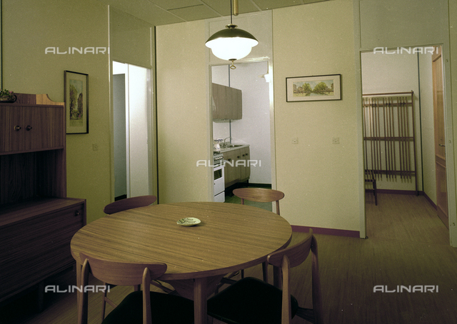 Interior of a prefabricated house: the dining room