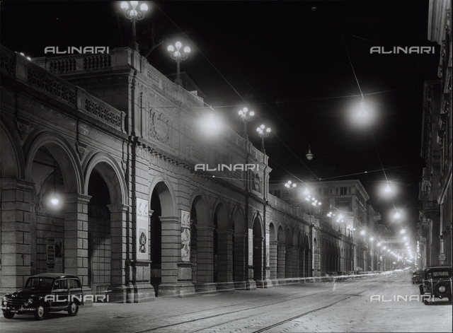 The new lights in the city of Bologna: night view with lighted lamps.