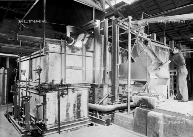 Machinery for glass working at the Vetrosilex factory in Castel Maggiore, Bologna