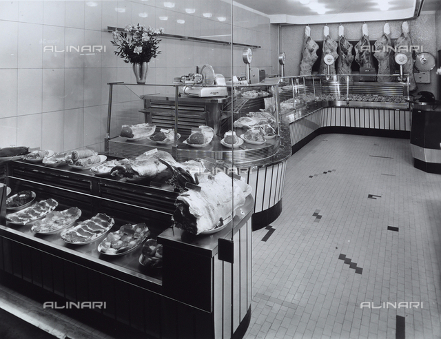 View of interior of Cavallari's Butcher shop