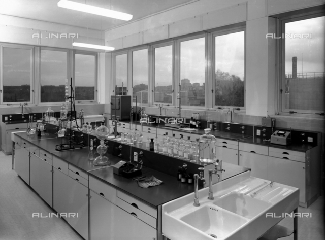 A lab at the pharmaceutical company, Angelini, in Rome, furnished by the O.M.A. Company