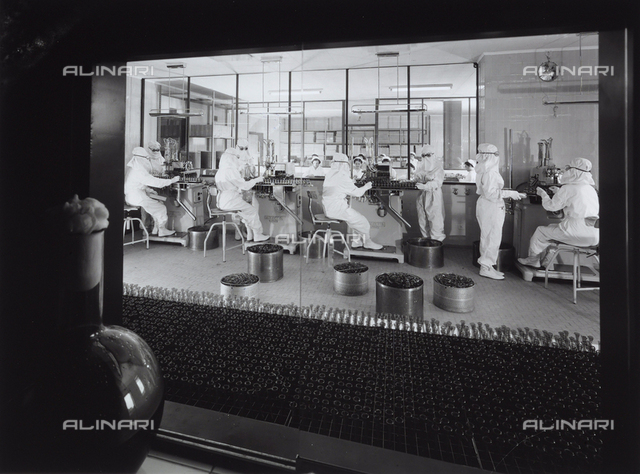Workers in the process of sterilization at the Alfa pharmaceutical factory. The photograph is taken through a window in an adjacent room. A bottle is visible there.