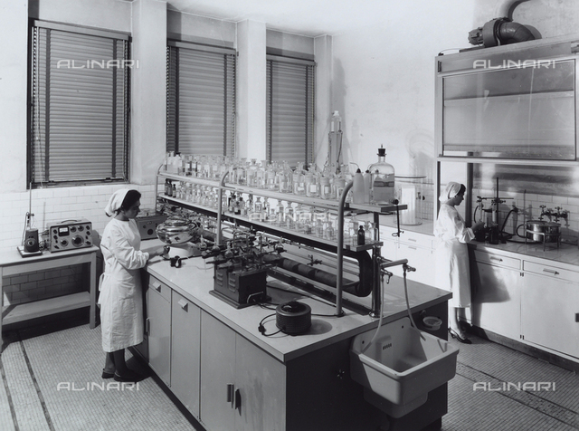 Recordati pharmaceutical factory. Laboratory with workers.