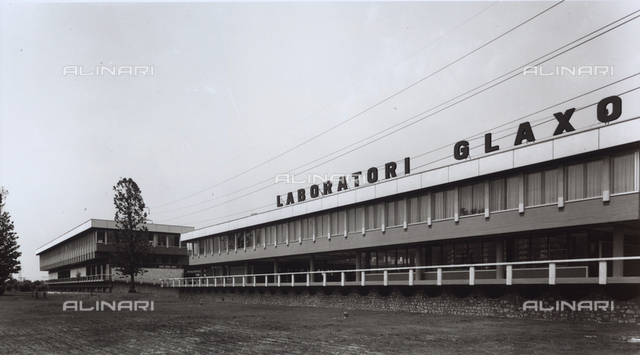 External view and facade of the GLAXO pharmaceutical factory.