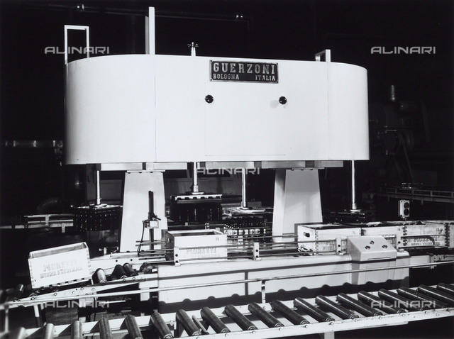 Machinery used for bottling Moretti beer at the Guerzoni company of Bologna