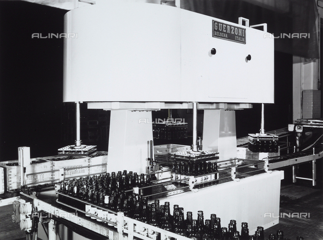Machinery used for bottling Moretti beer at the Guerzoni company of Bologna.