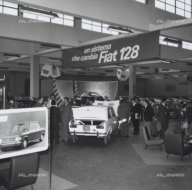 Presentation of the new Fiat 128, launched to replace the old Fiat 1100, the first car with front wheel drive Fiat, Turin