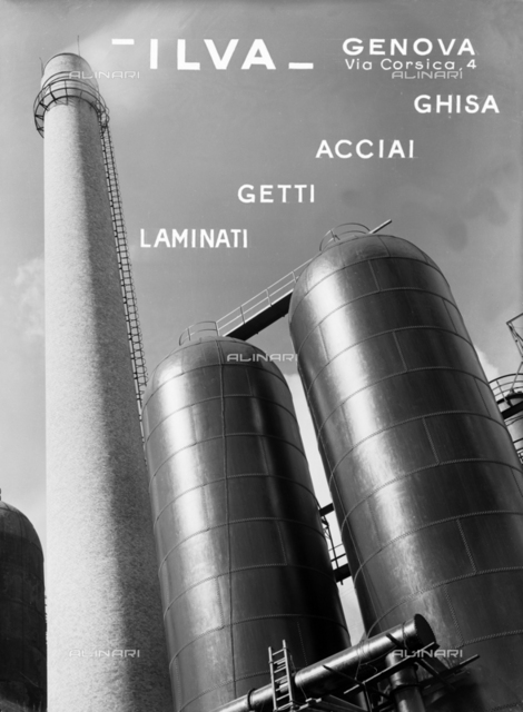 ILVA factory of Genoa. Publicity shot of the production of cast iron, steel, spray and laminant products. Blast furnaces are visible.