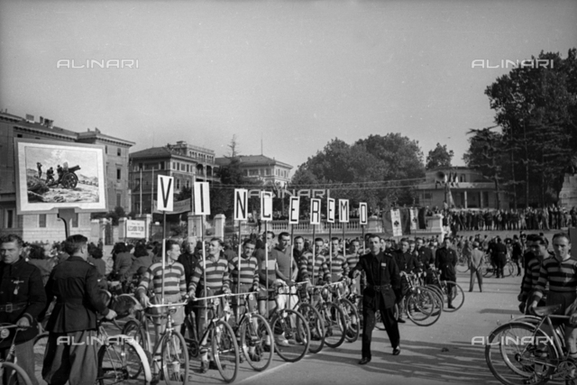 Participants in a bicycle race ready to go