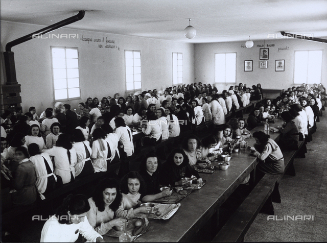 Workers at the Timo company during lunch at the cafeteria.