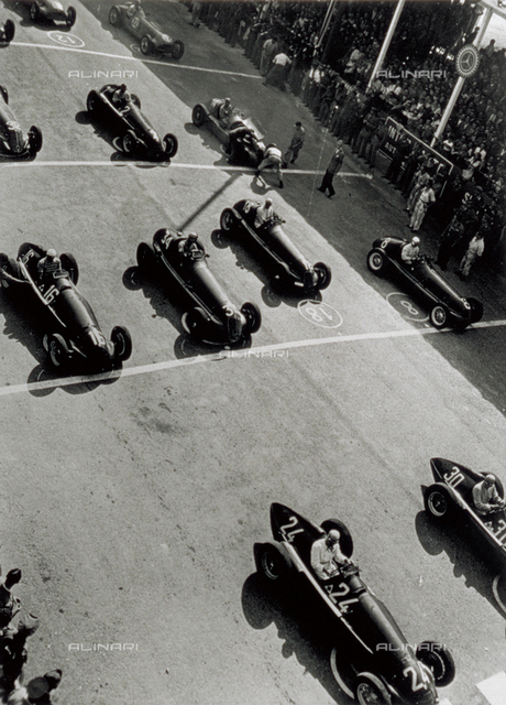 View from above, of a few racing cars, waiting for the starting signal
