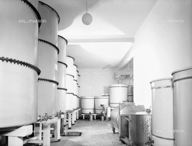 Interior of a Distillery Fabbri plant with worker to work, Bologna