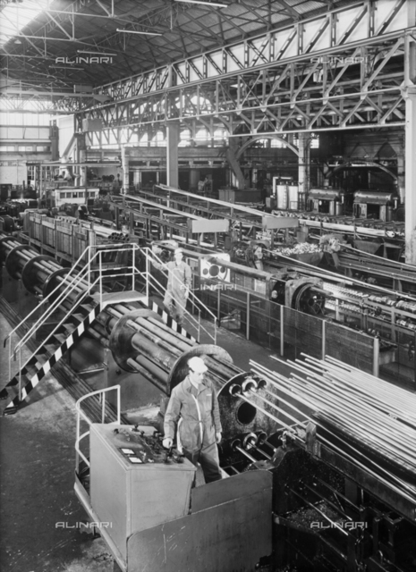 S.M.I.: Interior of a metallurgical plant of the company with workers at work