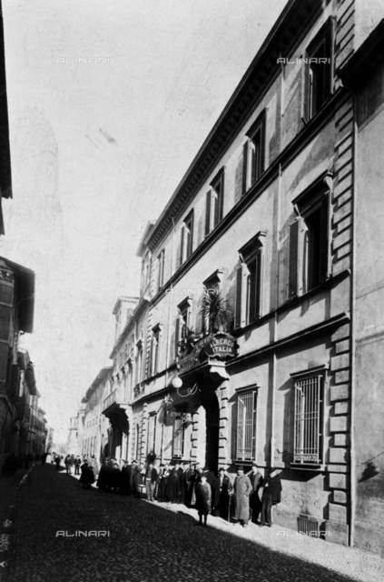 Ancient view of Imola street with Italia Hotel: photographic reproduction of 1963