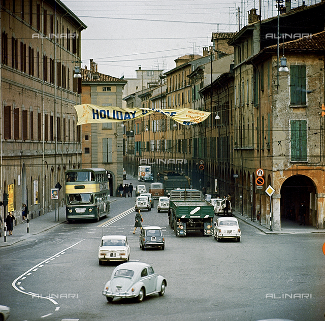 ATM: street scene with cars and bus, Bologna