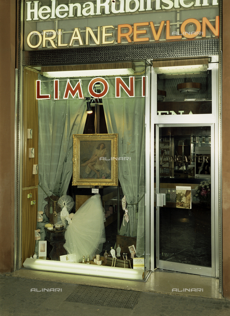 Shop window of one of the Limoni perfume shops in Bologna