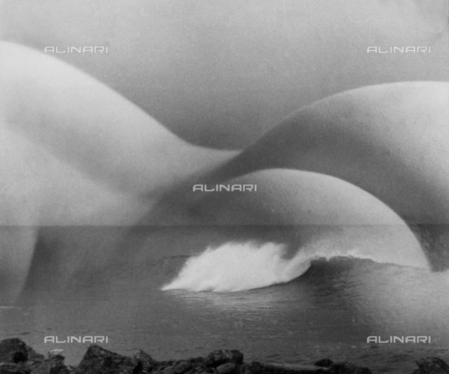 ''La Mère''.  Superimposed female nude viewed from the back and landscape of waves on the sea