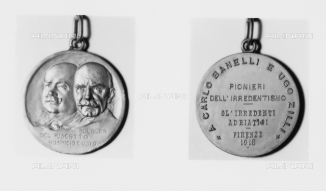 Medal of Carlo Banelli and Ugo Zilli, pioneers of irredentism (Italy's attempt to reclaim its lands held by other countries)