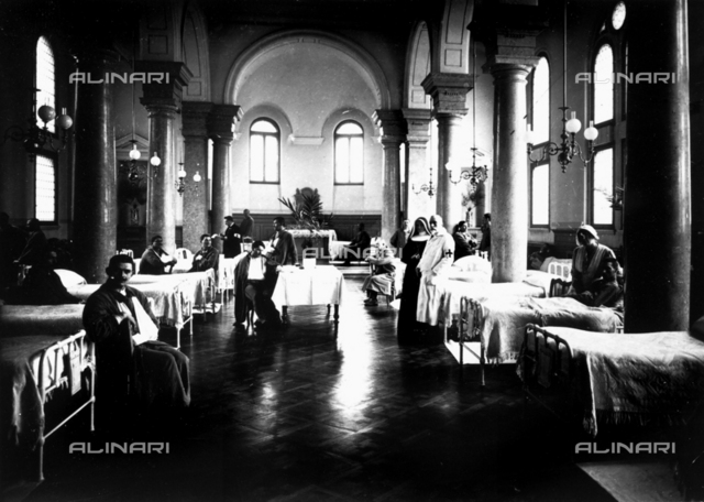 Decorated salon at a hospital with war convalescents