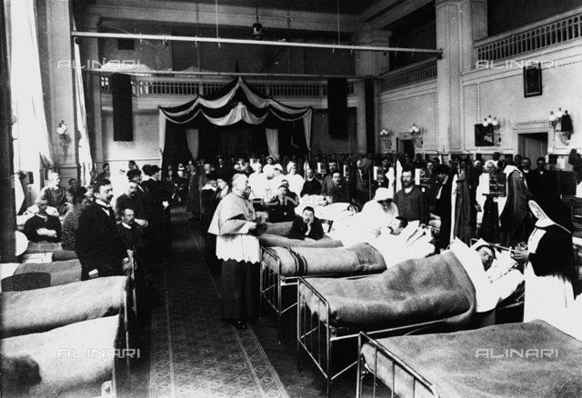 Decorated salon at a hospital with war wounded during a sacerdotal visit