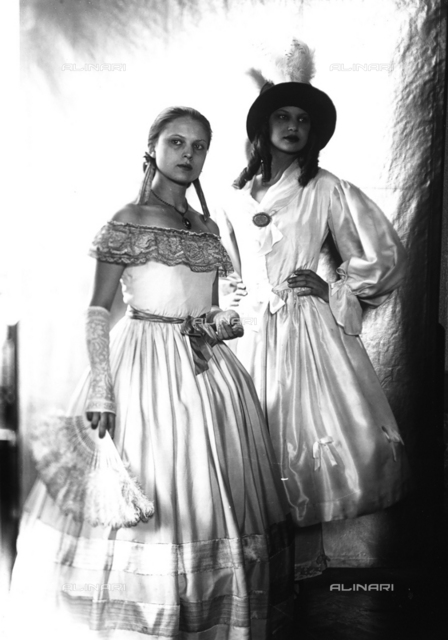 Wanda and Marion Wulz in nineteenth century dress on the occasion of a masked ball